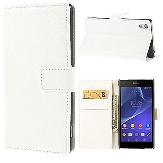 JUJEO Litchi Skin Leather Wallet Cover with Stand for Sony Xperia Z2 D6502 D6503 D6543 - Non-Retail Packaging - White