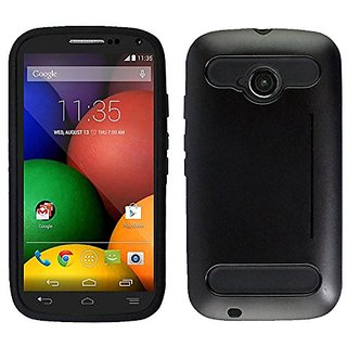 Zizo Moto E LTE 2nd Generation Durable TPU and PC Cover with Card Cutout as Kickstand - Retail Packaging - Metallic Blac