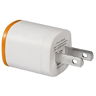 Reiko Dual Color AC/USB Power Travel Charger, 1A 5V - Retail Packaging - Orange/White