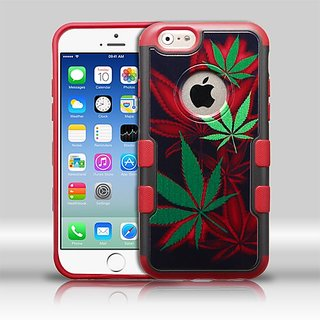 MyBat TUFF Merge Hybrid Protector Cover foriPhone 6 - Retail Packaging - Black Cannabis/Red