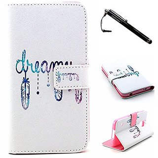 S5 Case,Galaxy S5 Case,White Dream Top Quality TPU Leather Flip Wallet Protective Soft Skin Case Magnetic Flap Closure f