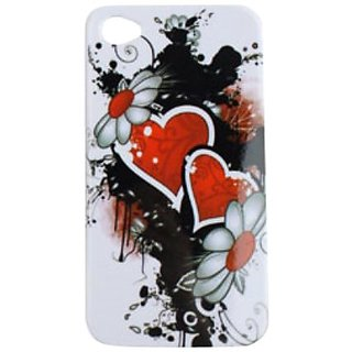 Cell Armor Snap-On Case for iPhone 4/4S - Retail Packaging - Wild Twin Hearts and Flowers