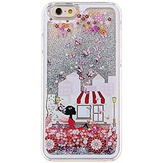 IKASEFU Glitter Case for Iphone 6 Plus,Creative 3D Cute Flower Girl Design Shiny Sparkle Silver Star Flowing Hard Liqud
