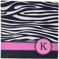 3dRose LLC 8 X 8 X 0.25 Inches Mouse Pad, Letter K Monogrammed Black And White Zebra Stripes Animal Print With Hot Pink
