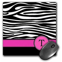 3dRose Letter T Monogrammed Black And White Zebra Stripes - Mouse Pad, 8 By 8 Inches (mp_154291_1)