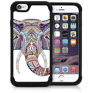 iPhone 6 6S Case Cover OxyHybrid Elephant Face Tribal Doodle Art Aztec Drop Protection Plastic And Silicon Hybrid Case.