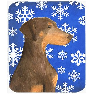 Carolines Treasures Doberman Winter Snowflakes Holiday Mouse Pad/Hot Pad/Trivet (SS4617MP)