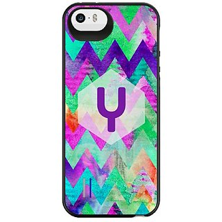 Uncommon LLC Seafoam Crayon Monogram Y Power Gallery Battery Charging Case for iPhone 5/5S - Retail Packaging - Multicol