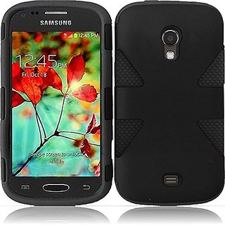 HR Wireless Samsung Galaxy Light T399 Dynamic Slim Hybrid Cover Case - Retail Packaging - Black