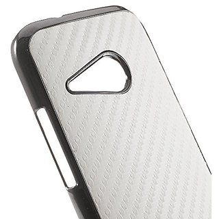 JUJEO Carbon Fiber Leather Coated Plastic Case Shell for HTC One M8 Mini - Non-Retail Packaging - White