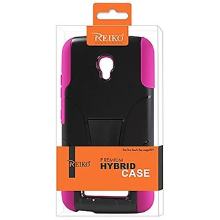 Reiko Silicon Case and Protector Cover with Kickstand for Alcatel One Touch Pop Mega - Retail Packaging - Hot Pink/Black