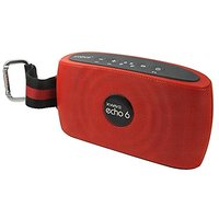 XWAVE Echo 6 Hi-Fi Portable Wireless Bluetooth Speaker With Built-in Microphone With 12 Hour Rechargeable Battery, Red,