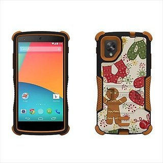Beyond Cell Tri-Shield Durable Hybrid Hard Shell and Silicone Gel Case for LG Nexus 5 - Retail Packaging - Black/Brown