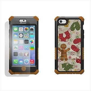 Beyond Cell Tri-Shield Durable Hybrid Hard Shell and Silicone Gel Case for iPhone 5C - Gingerbread - Retail Packaging