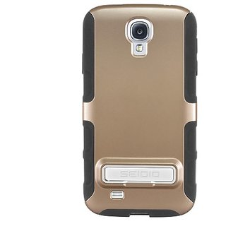 Seidio DILEX Case with Metal Kickstand for use with Samsung Galaxy S4 - Retail Packaging - Gold