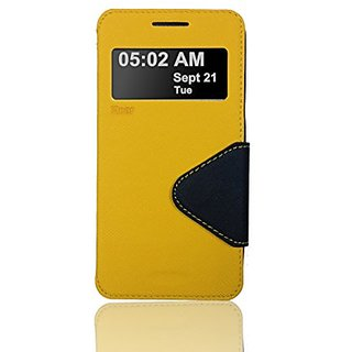 Roar- Super Slim PU Leather/ Diary Wallet View Case for Samsung Galaxy Grand Prime G5308 (Yellow/Black)