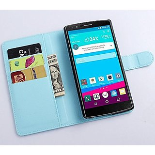 Premium Leather Wallet Flip Bracket Case Cover for LG G4, phone Case (wallet-Sky Blue)