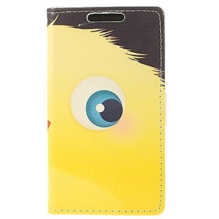 JUJEO Yellow Cartoon Animal Eyes Stand Leather Shell Cover with Card Slots for Samsung Galaxy S5 Mini - Non-Retail Packa