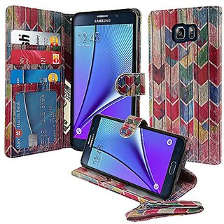 Nextkin Samsung Galaxy Note 5 Leather Pouch Wallet Card With TPU Gel Protector Cover Case - Watercolor Chevron Stained W