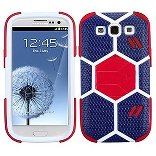 MyBat Samsung Galaxy S 3 Goalkeeper Hybrid Cover with Red Stand - Retail Packaging - Blue/Red