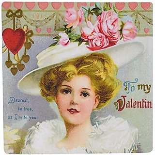3dRose LLC 8 x 8 x 0.25 Inches Mouse Pad, Vintage Valentine Woman with White Hat (mp_38439_1)