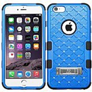 MyBat iPhone 6 Plus TUFF Hybrid Phone Protector Cover with Diamonds - Retail Packaging - Black/Blue