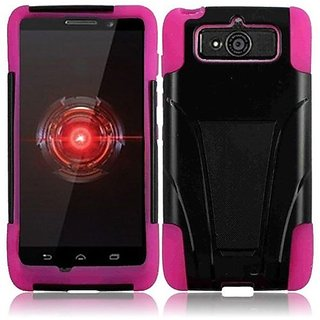 HR Wireless Motorola Droid Mini/XT1030 T-Stand Cover - Retail Packaging - Black/Hot Pink