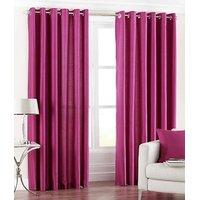 Dark Pink Color Plain Eyelet Door Curtain 4X7 Feet Set Of 2