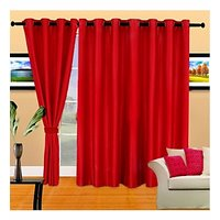 Deal Wala Pack Of 2 Red Color Plain Eyelet Door Curtain (4x7ft)