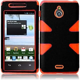 HR Wireless Huawei Valiant/Huawei Ascend Plus H881C Dynamic Protective Cover - Retail Packaging - Black/Orange
