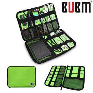 BUBM Fashion Cable Organizer Bag Travel Case Digital Storage Bag with Zipper/ Healthcare & Grooming Kit (Dis Green- Medi
