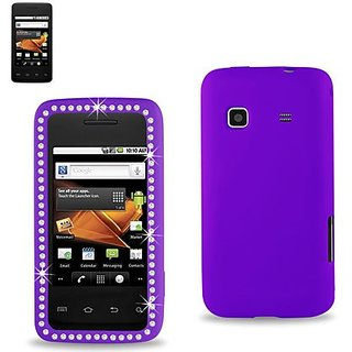 Reiko Diamond Soft Silicon Gel Protector Skin Cover for Samsung Galaxy Prevail M820 - Retail Packaging - Purple