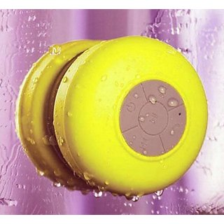 Waterproof Bluetooth Shower Speaker Portable Speakerphone Wireless Splash Shower Tunes (Yellow)