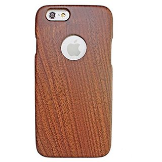 Olina Handmade Real Natural Hard Wood Bamboo Case Cover Carving Wood Case for iPhone 6 (4.7) (Walnut Straight)