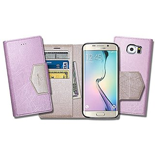 S6 Edge Case, Samsung Galaxy S6Edge Soft Pearl Leather Case, Mobile Slim Wallet Glossy Cover - Credit Card ID Holders