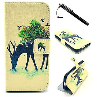 S5 Mini Case, Galaxy S5 Mini Case,Deer PU Leather Flip Wallet Protective Skin Case Magnetic Clasp with Dust plug Stylus