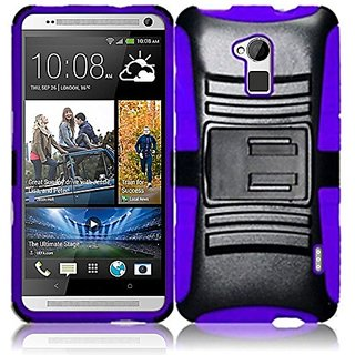 HR Wireless HTC One Max Side Stand Cover With Holster - Retail Packaging - Black/Purple