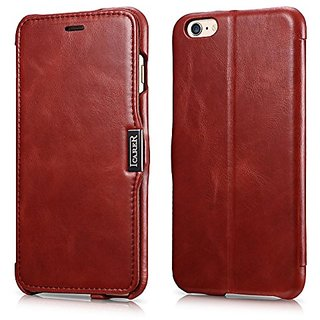 ICARER iPhone 6s Case, Vintage Series Genuine Leather Case, Stand Feature Flip Case 100% HANDMADE with Magnetic Closure