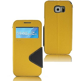 Roar- Super Slim PU Leather/ Diary Wallet View Case for Samsung Galaxy S6 (2015) (Yellow/Black)