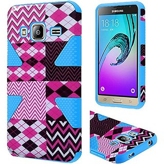 HR Wireless Cell Phone Case for Samsung Galaxy J3 - Retail Packaging - Hot Chevron/Sky Blue