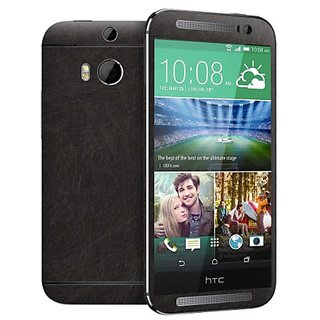 Cruzerlite Scratch Skin for the All New HTC One (M8) 2014 - Retail Packaging - Charcoal Gold (Full Kit - Back,Front,Side