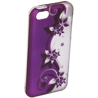 Zizo Rubberized Protective Cover Case for iPhone 5C - Retail Packaging - Purple/Silver Vines Design