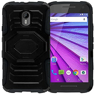 Zizo Case Cover for Motorola Moto G 2015/G3 - Retail Packaging - Black/Black