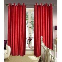 Deal Wala Pack Of 2 Maroon Color Plain Eyelet Door Curtain (4x7ft)