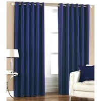 Deal Wala Pack Of 2 Blue Color Plain Eyelet Door Curtain (4x7ft)