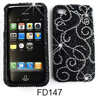 Cell Armor Snap-On Case for iPhone 4/4S - Retail Packaging - Full Diamond Crystal, White Vines on Black