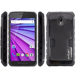 Zizo Cell Phone Case for Motorola Moto G 2015/G3 - Retail Packaging - Metallic UV Black/Black