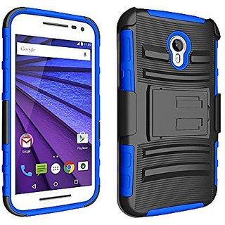 Zizo Cell Phone Case for Motorola Moto G 2015/G3 - Retail Packaging - Blue/Black