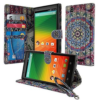 NextKin ZTE ZMAX Z970 Leather Pouch Wallet Card With TPU Gel Protector Cover Case - Bohemian Blue Mandala Wooden