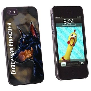 Graphics and More Doberman Pinscher Black On Brown - Dog Pet - Snap-On Hard Protective Case for Apple iPhone 5/5s - Non